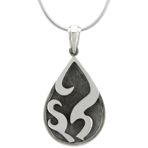 Flames Drop Sterling Necklace