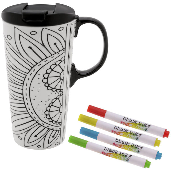 Floral Burst Coloring Ceramic Travel Mug