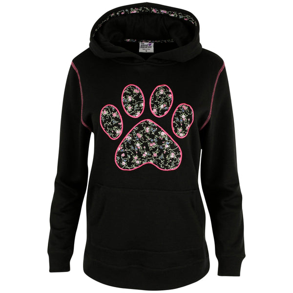 Floral Paw Applique Hooded Sweatshirt