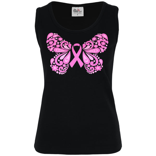 Floral Pink Ribbon Butterfly Tank Top
