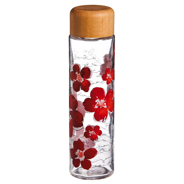 Floral Symphony Glass Water Bottle