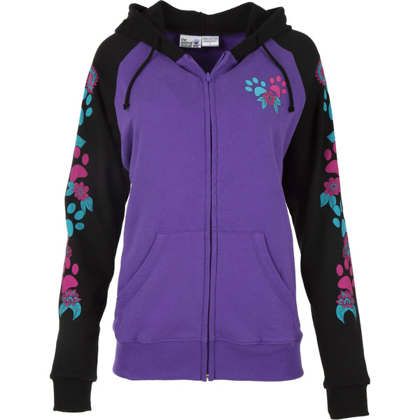Flowers & Paws Two-Toned Zip Hoodie