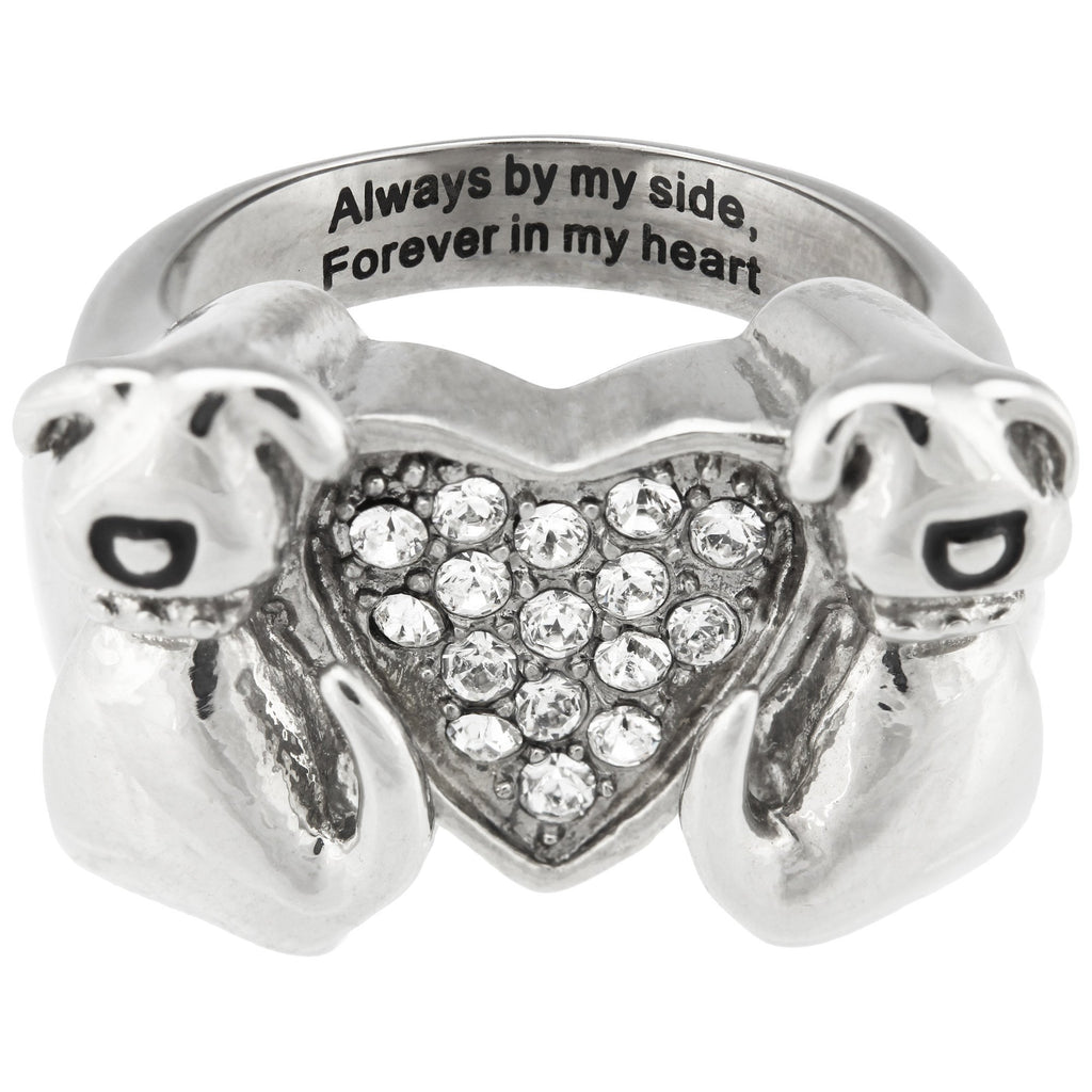 Forever In My Heart Dog Swarovski Crystal Ring