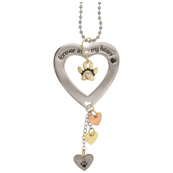 Forever In My Heart Paw Print Car Charm
