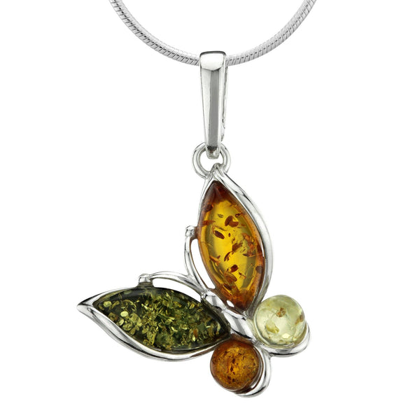 Four Seasons Butterfly Amber Sterling Necklace