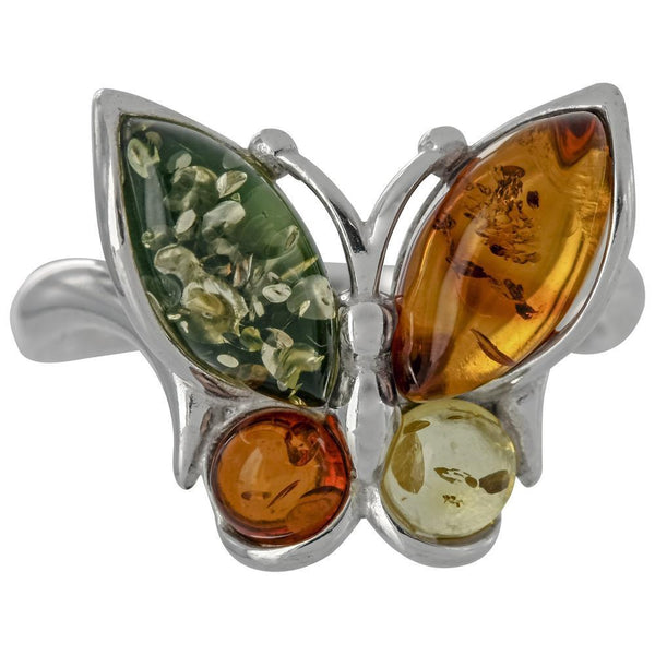 Four Seasons Butterfly Amber Sterling Ring