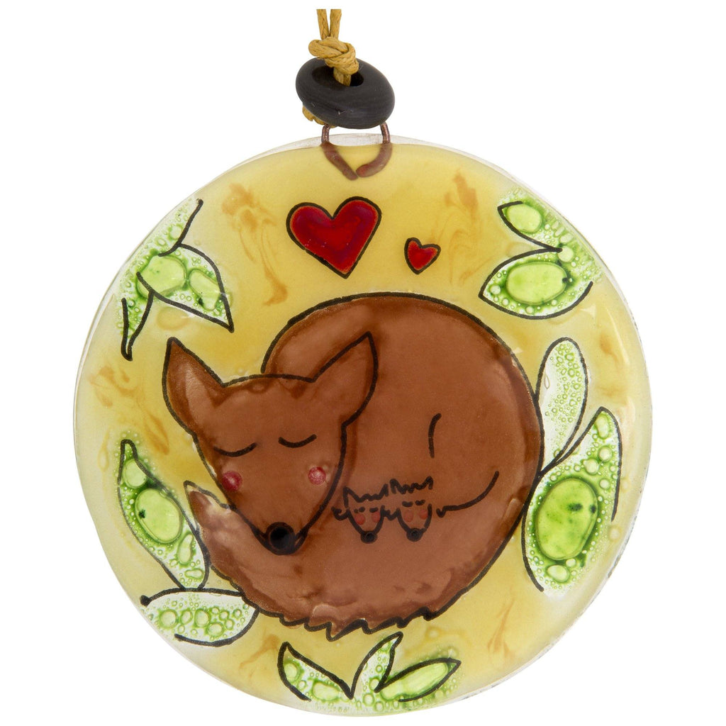 Fox Love Recycled Glass Ornament