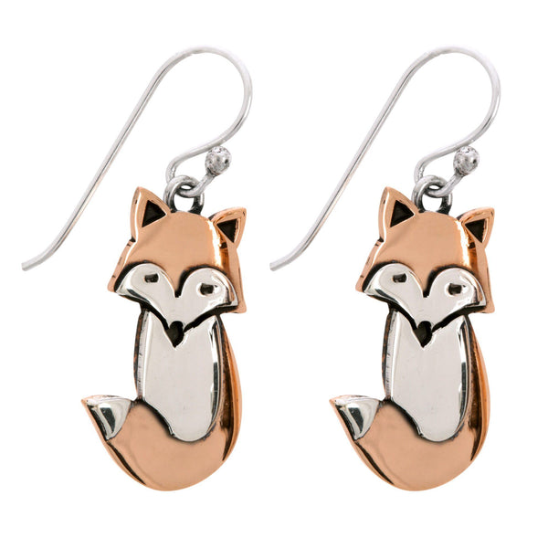 Fox Sterling & Copper Earrings