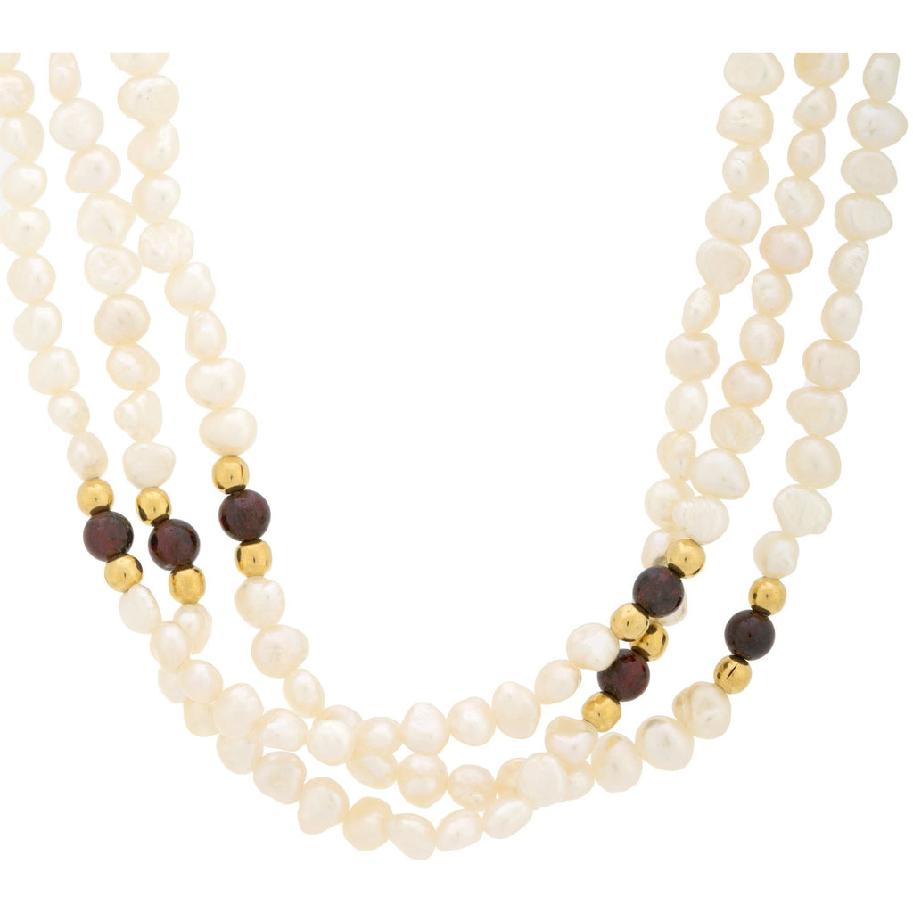 Freshwater Pearl & Garnet Necklace
