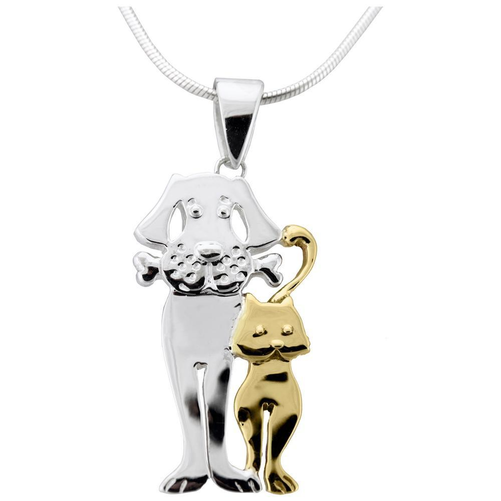 Friends Forever Cat & Dog Sterling Necklace
