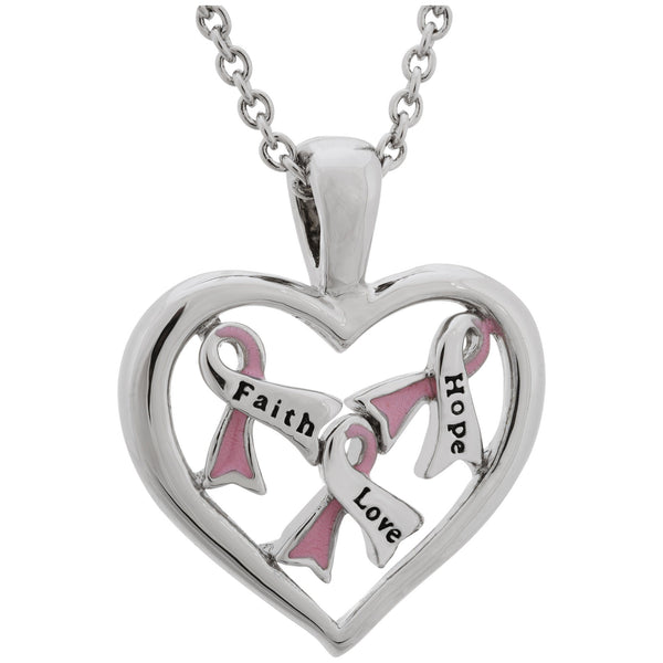 Full Heart Pink Ribbon Necklace