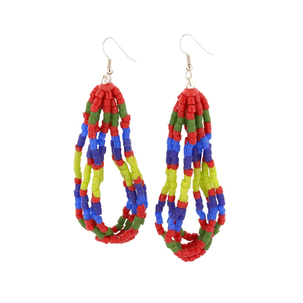 Ghana Glass Kente Earrings