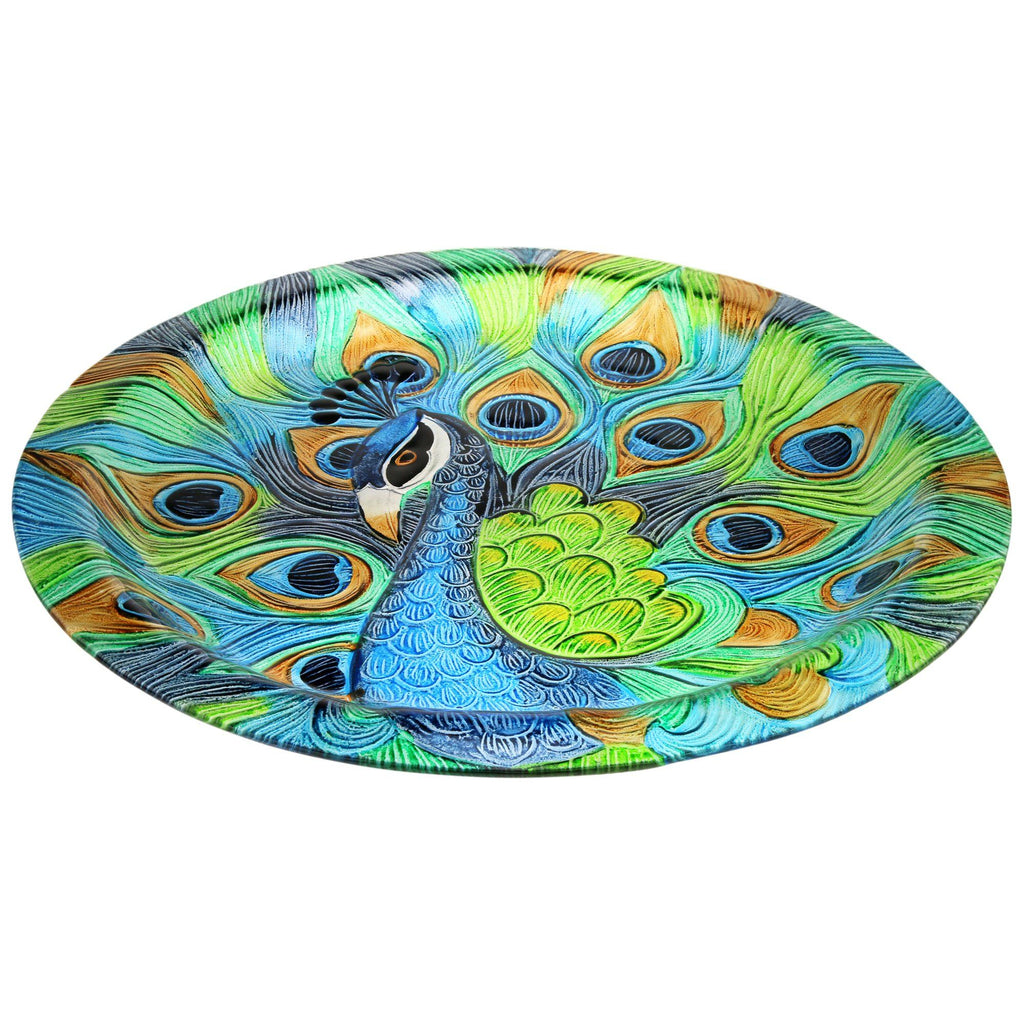 Glass Peacock Serving Platter