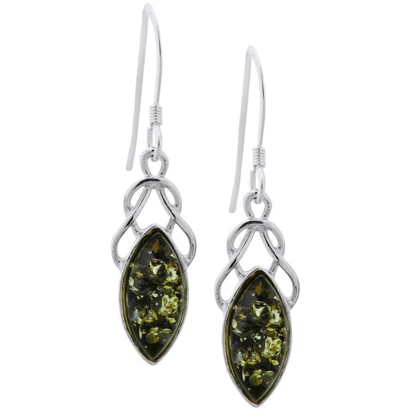 Green Amber Celtic Earrings