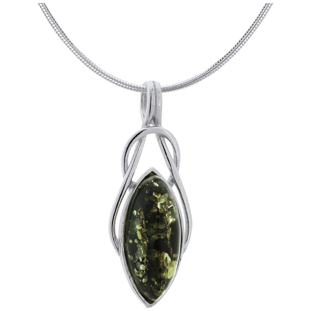 Green Amber Celtic Necklace