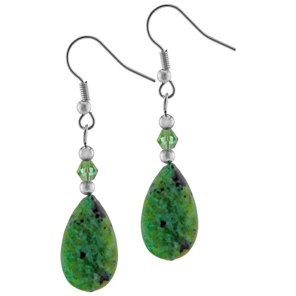Green Jasper Teardrop Earrings