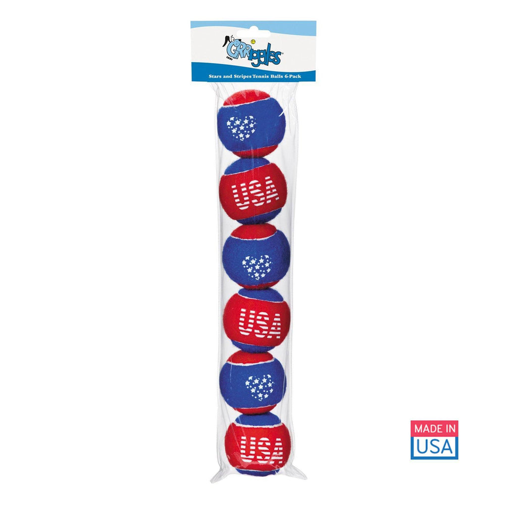 Grriggles® U.S.A. Tennis Ball - 6 Pack