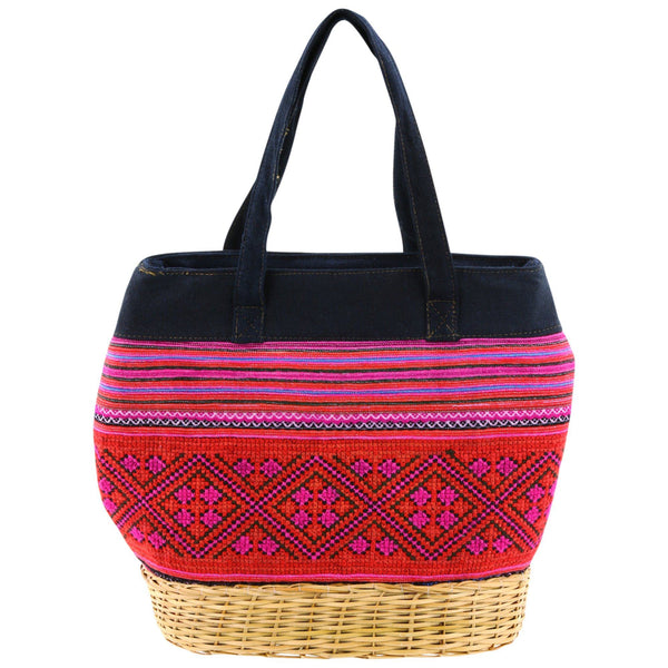 H'Mong Textile & Wicker Handbag