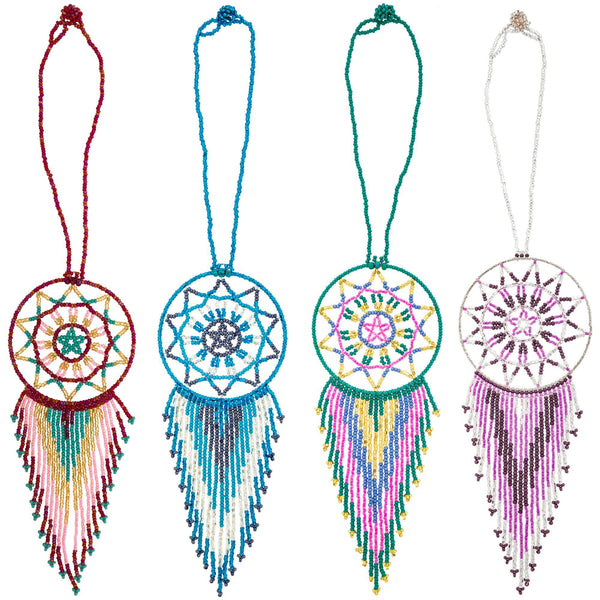 Hand-Beaded Dream Catcher Car Charm