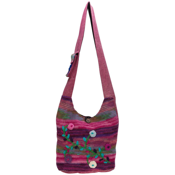 Hand-Embroidered Floral Knit Bag