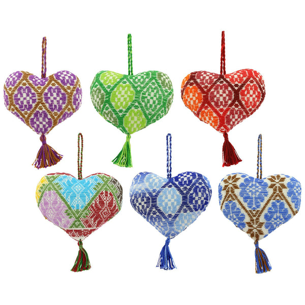 Hand-Embroidered Heart Ornament