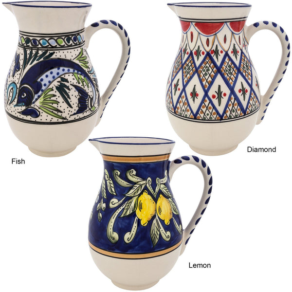 Hand-Painted Mediterranean Pitcher