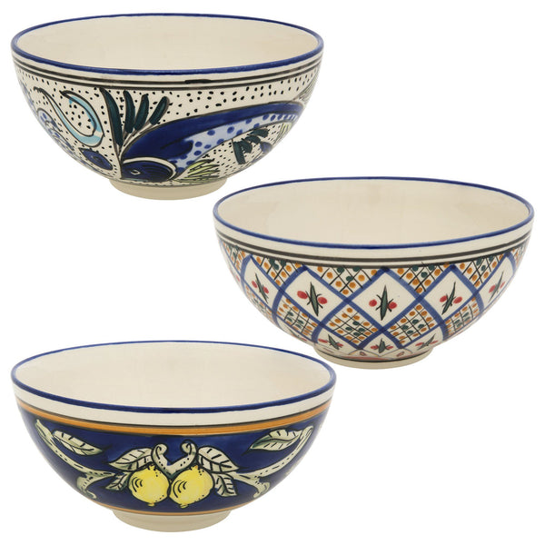 Hand-Painted Mediterranean Stoneware Serving Bowl