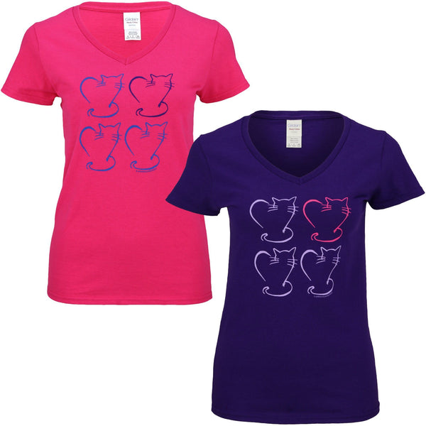 Heart Kitties V-Neck Tee