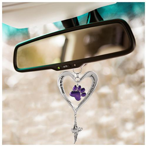 Heart & Purple Paw Car Charm