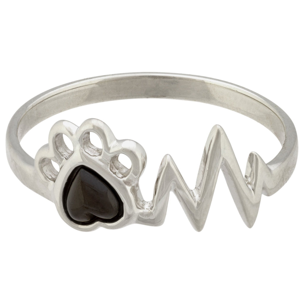 Heartbeat Paw Sterling Ring