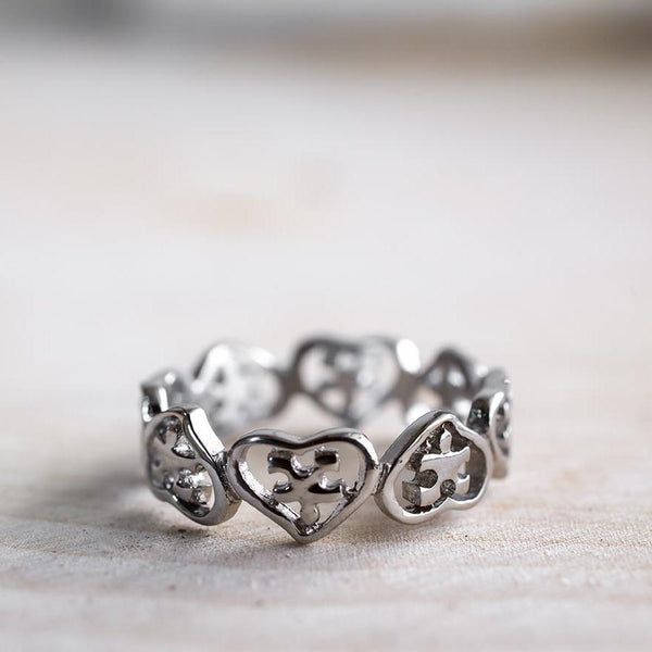 Hearts & Puzzle Pieces Stainless Steel Ring