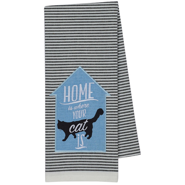 Home Is A Cat Embellished Dish Towel