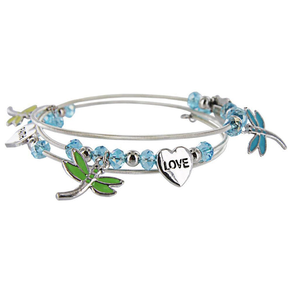 Hope Faith Love Dragonfly Coil Bracelet