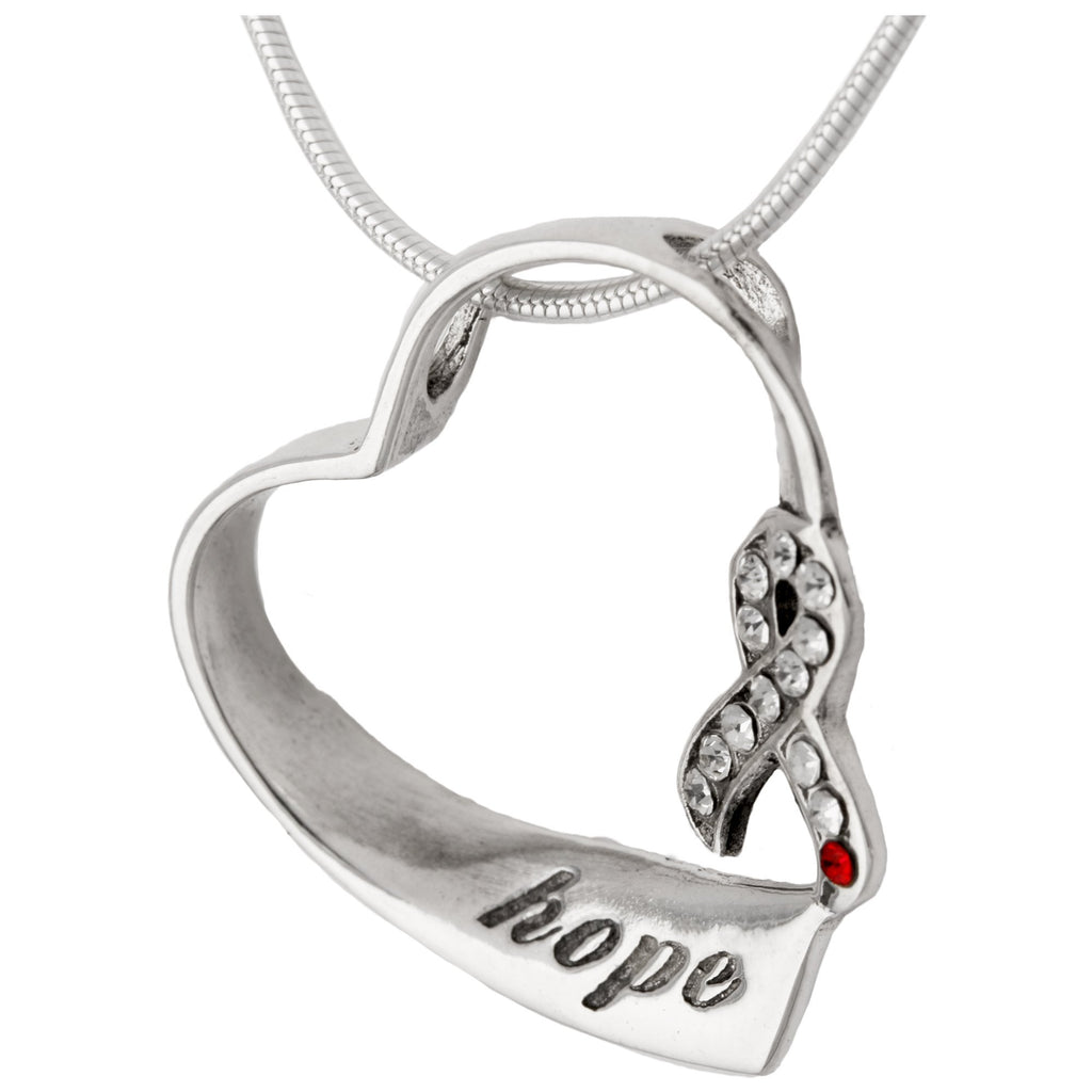 Hope For Diabetes Sterling Heart Necklace