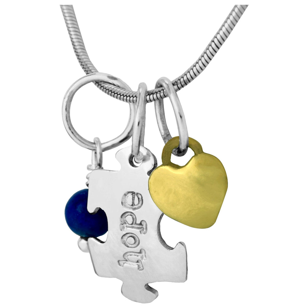 Hope Puzzle Piece Silver-Plated Necklace
