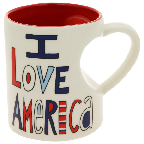 I Love America & Coffee Heart Mug