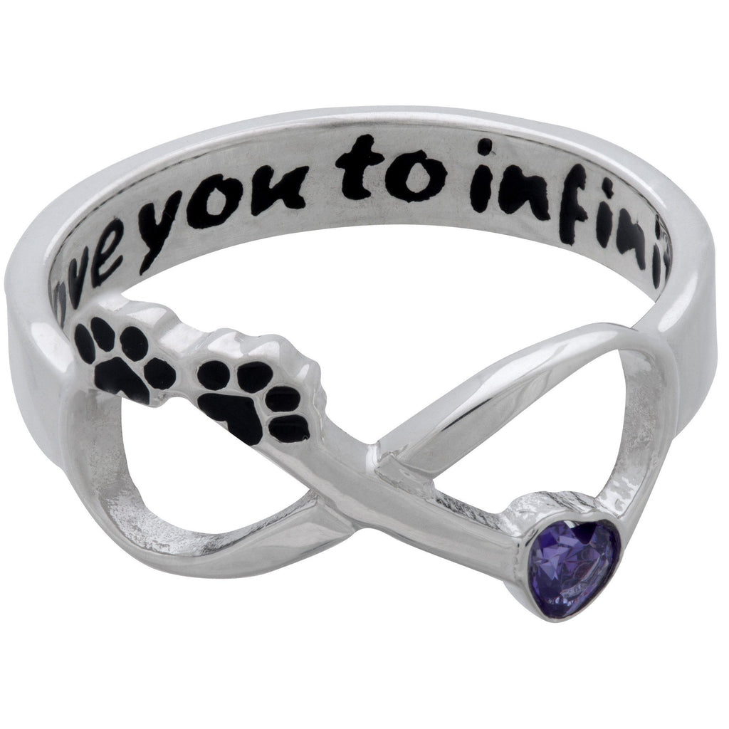I Love You To Infinity Paw Print Sterling Ring