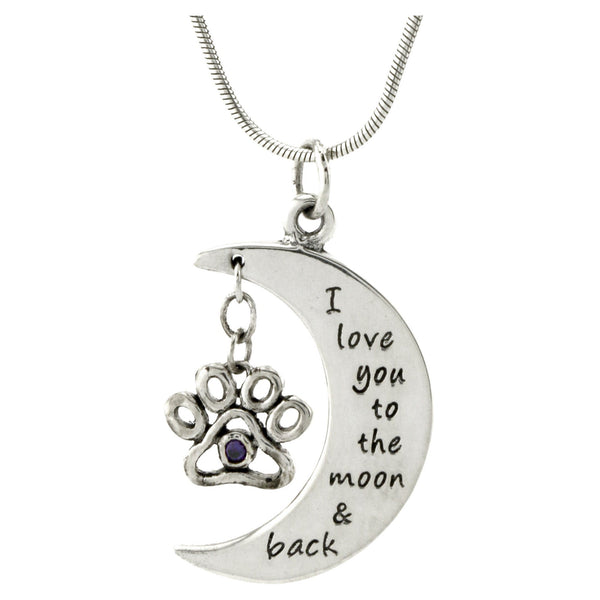I Love You To The Moon Paw Print Sterling Necklace