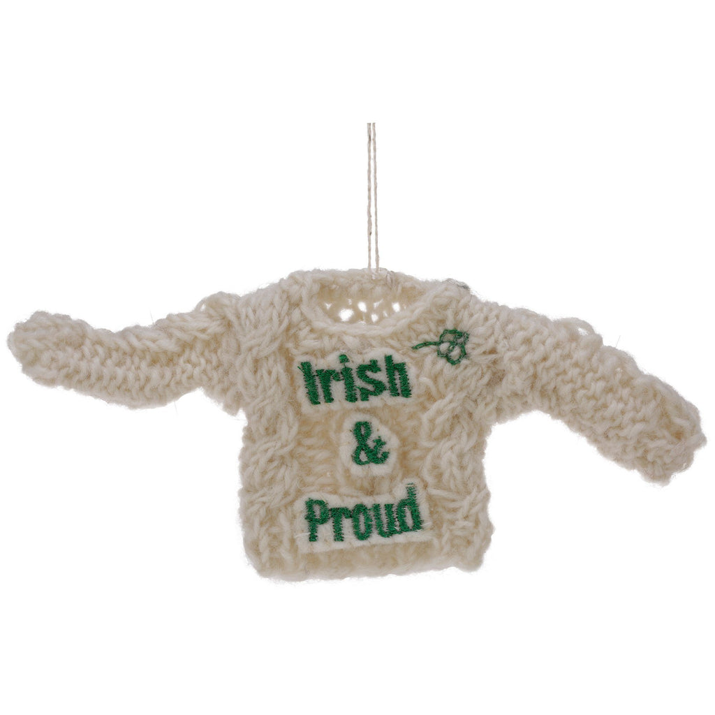 Irish & Proud Cable Knit Sweater Ornament