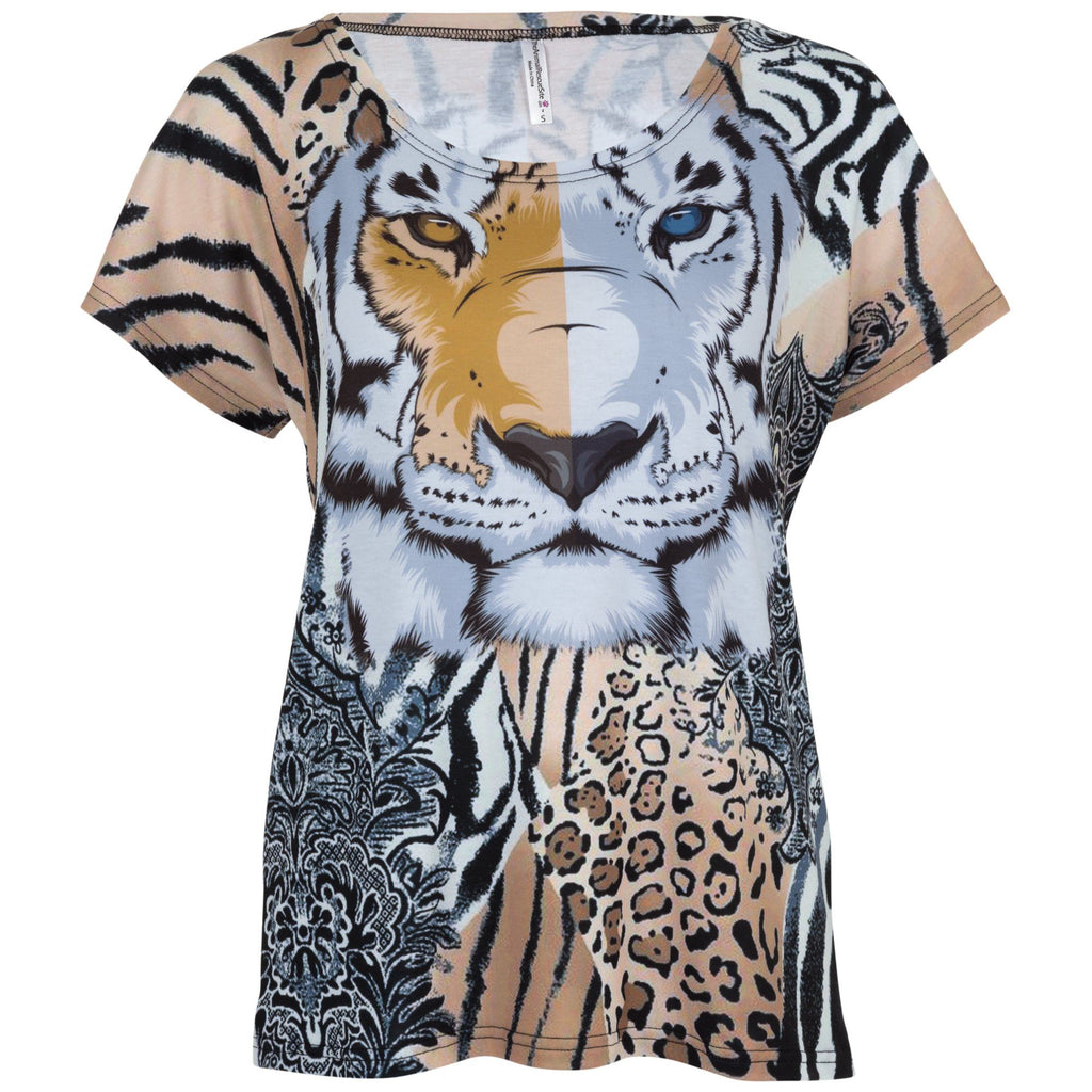 Jungle Cat Collage Top