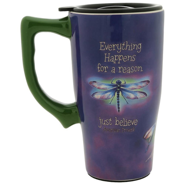 Just Believe Dragonfly Ceramic Travel Mug