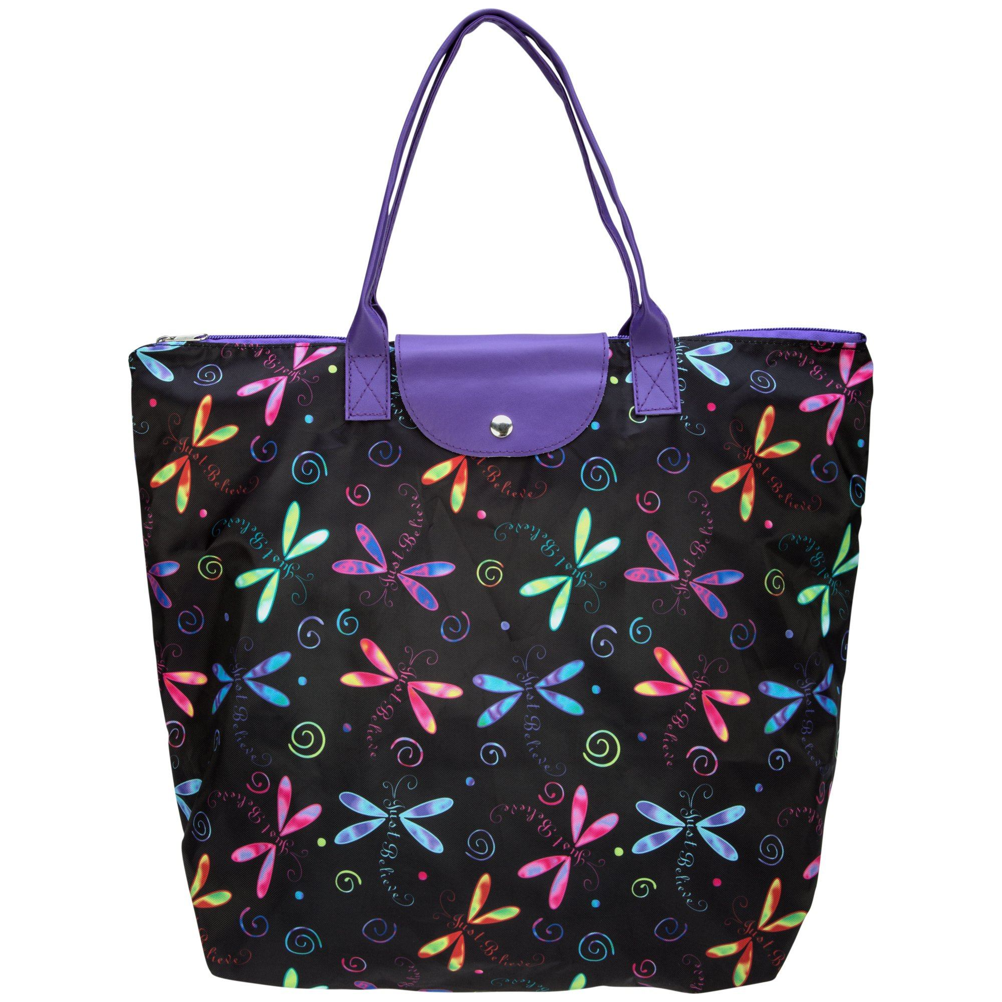 Just Believe Dragonfly Fold-up Tote Bag