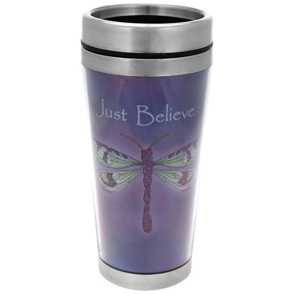 Just Believe Dragonfly Travel Mug