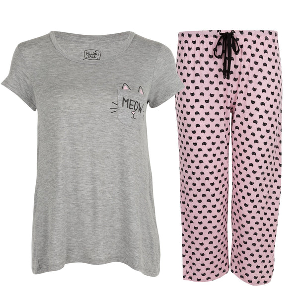 Kitty Pocket Capri Pajamas Set