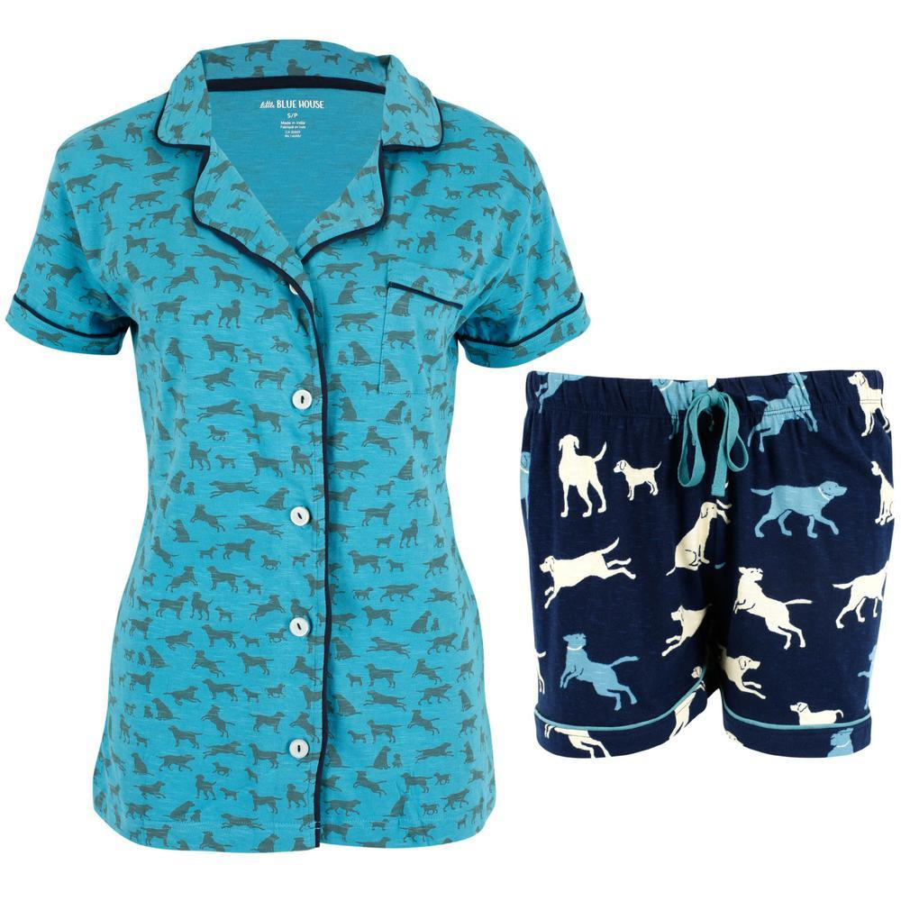 Labrador In Blue Pajama Shorts Set