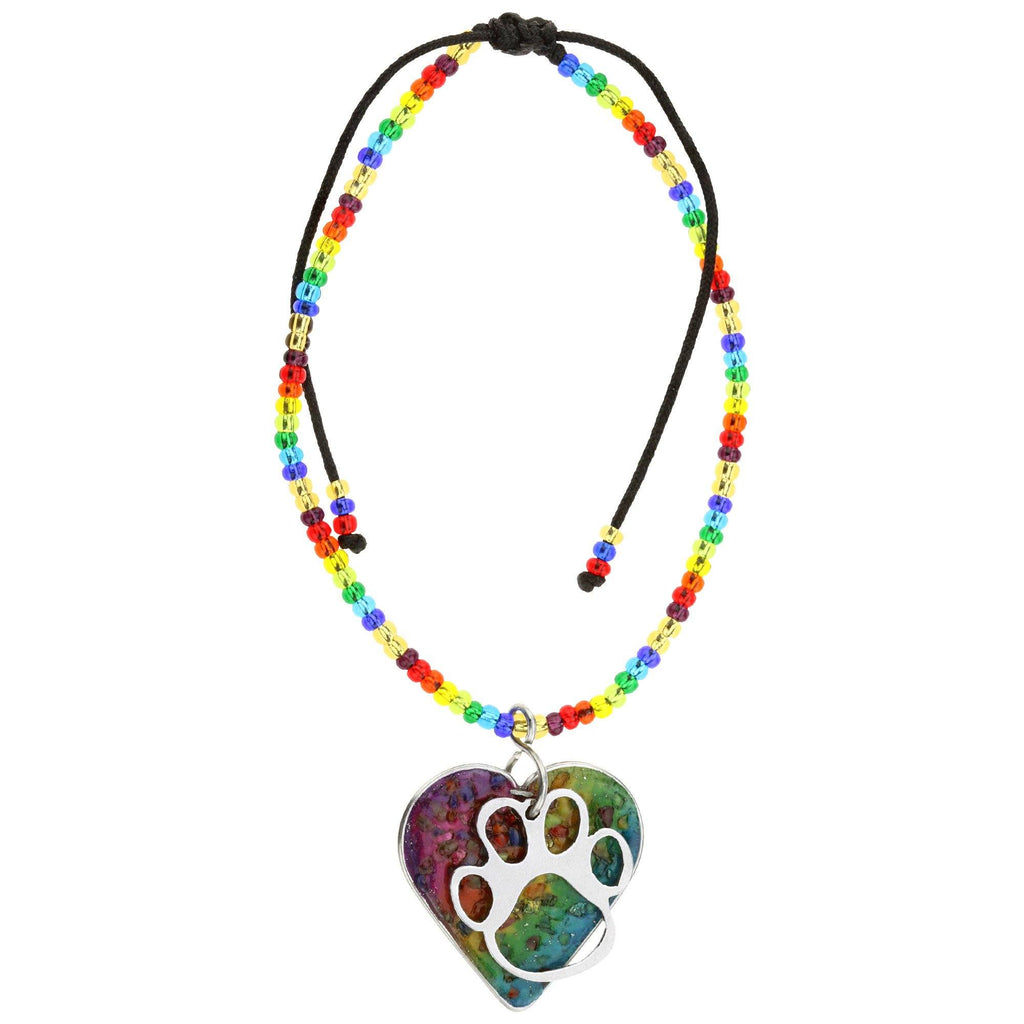 Life Is A Rainbow Gemstone Paw Print Bracelet
