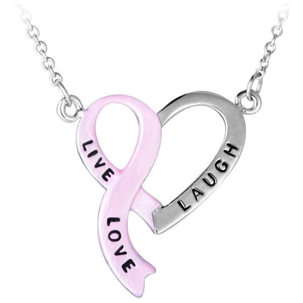 """Live, Laugh, Love"" Pink Ribbon Heart Necklace"