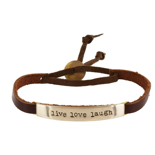 Live, Love, Laugh Leather Bracelet