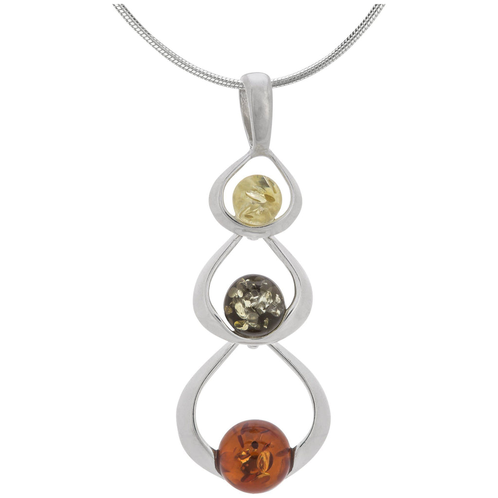 Loops Of Amber & Sterling Necklace