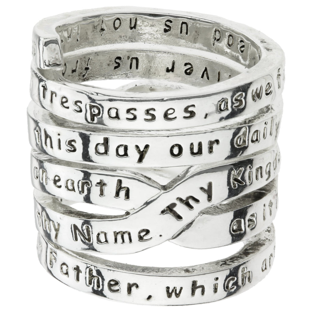 Lord's Prayer Pewter Wrap Ring